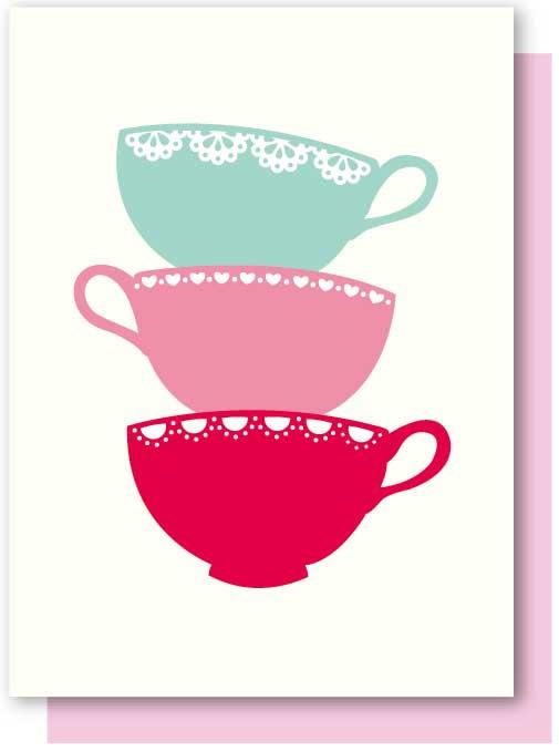 Greeting Card Elly Oak Afternoon Tea, Teacup Stack