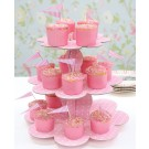 3 Tiered Pink Spotty Cup Cake Stand