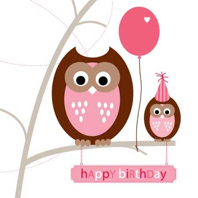 just smitten party owls birthday card, Birthday card
