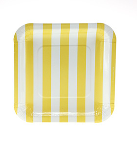 Square Sambellina Yellow Stripe Plates