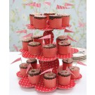 3 Tiered Red Spotty Cup Cake Stand