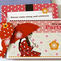 Party Invitations KatyJane Designs Umbrella Girl