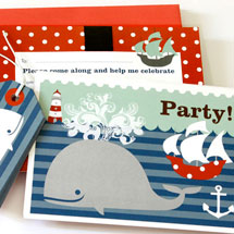 Party Invitations Set KatyJane Designs Blue Whale