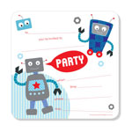 Party Invitations Poppiseed Designs Rocking Robots Boxed Set
