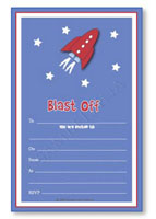 Party Invitations Set Sambellina Space Rocket
