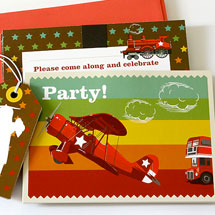 Party Invitations Set KatyJane Designs Vintage Plane