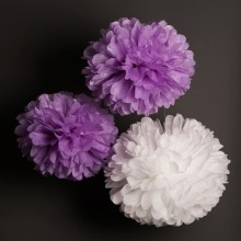 White Tissue Pom Poms Large